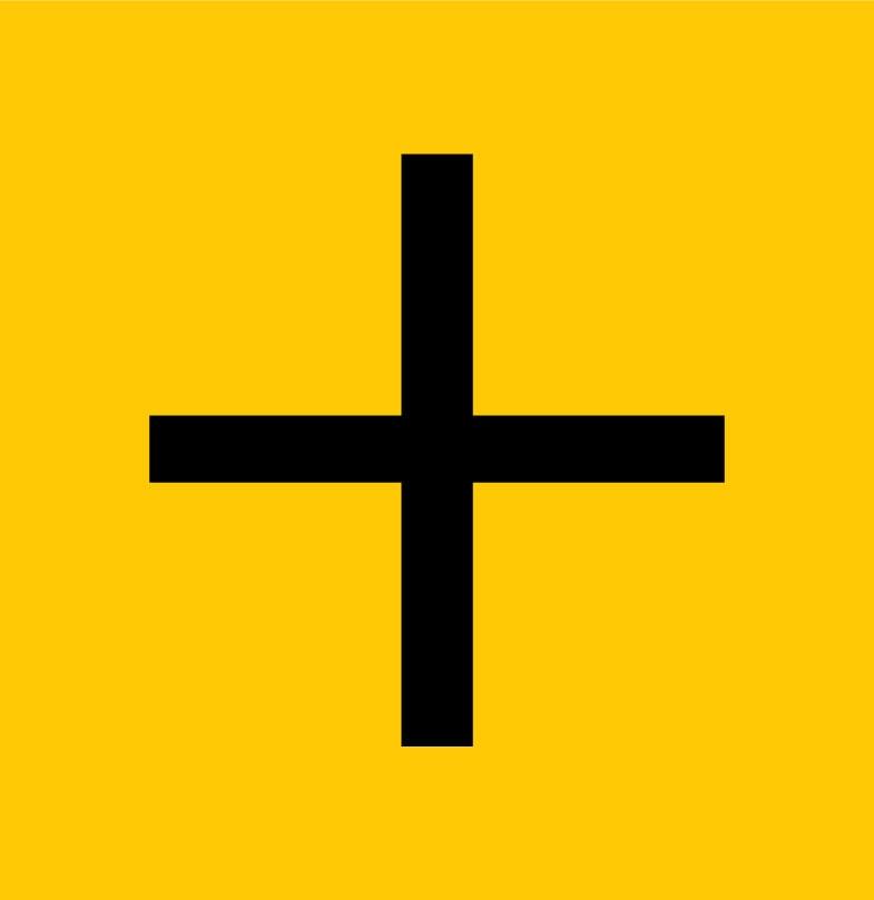 Bouton + (plus) noir sur fond jaune Prismont